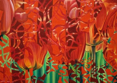 Gallery of Fine Art - abstract painting of orange queen flowers by John Gentile