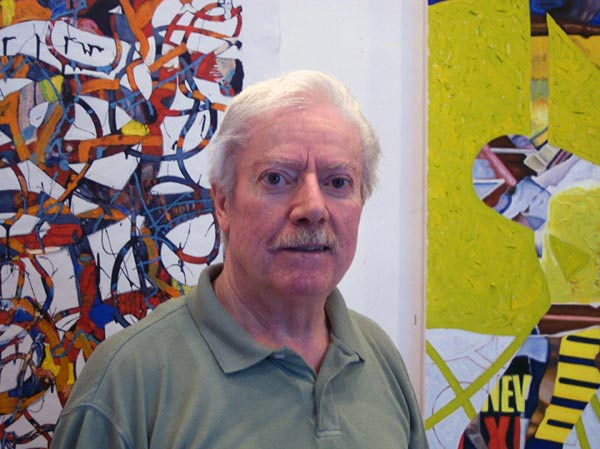 Photo of Fine Artist John Gentile with his paintings