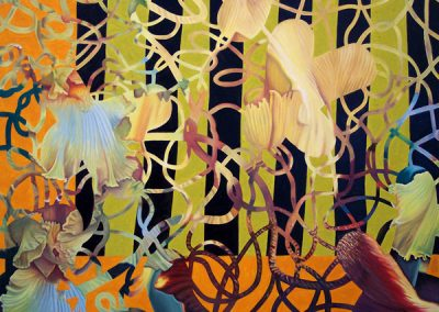 Gallery of Fine Art - abstract painting of bearded irises by John Gentile