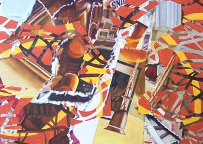 abstract painting with a bell by John Gentile